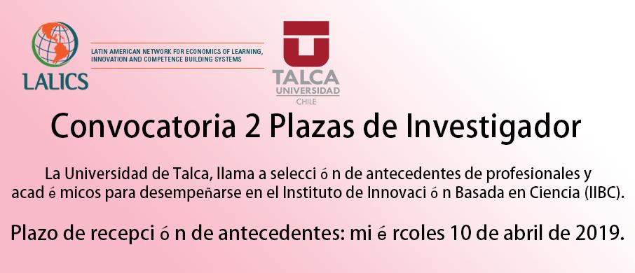 Plazas para investigadores TALCA