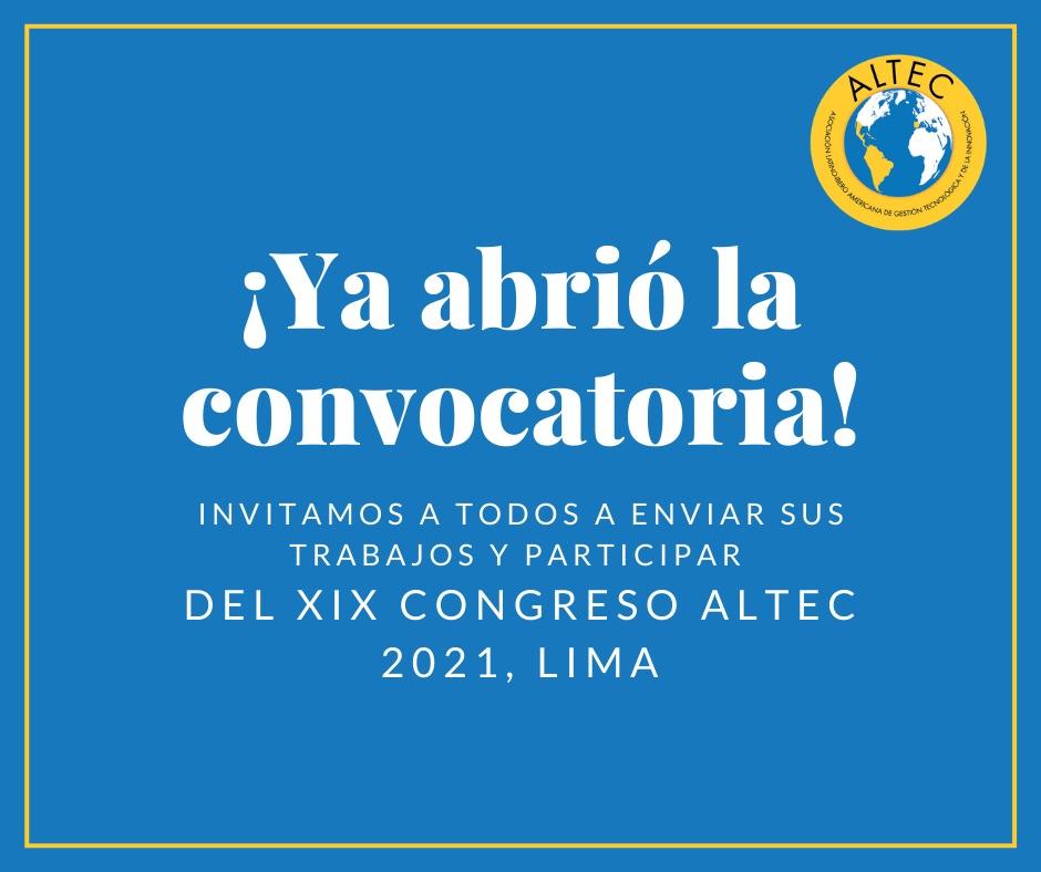 XIX Congreso Latino-Iberoamericano de Gestión Tecnológica y de la Innovación