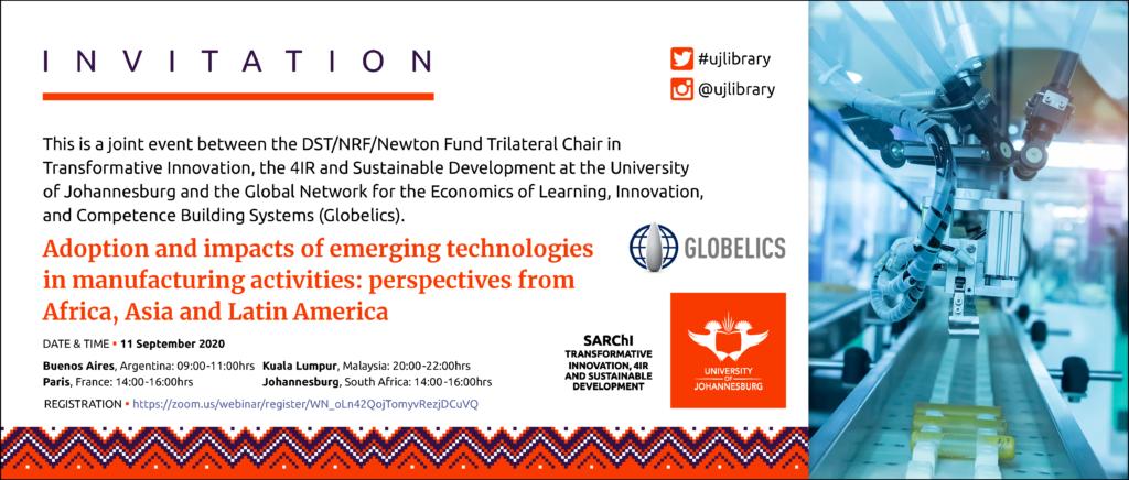 Webinar: Adopción e impactos de tecnologías emergentes en las actividades manufactureras: perspectivas desde África, Asia y América Latina